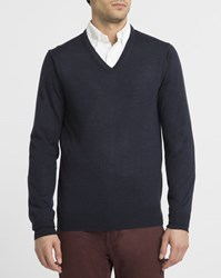 Ben Sherman Navy V Neck Merino Wool Sweater Blue