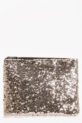 Boohoo All Over Sequin Clutch Bag Gold