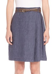 Peserico Belted Chambray Skirt Navy
