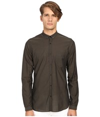 The Kooples Cotton Organza Shirt Khaki Men's Long Sleeve Button Up