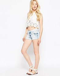 Parisian Denim Shorts With Daisy Applique Trim Light Acid Blue