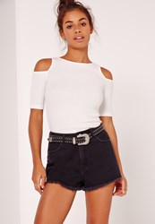 Missguided Cold Shoulder Short Sleeved Ribbed Crop Top White White