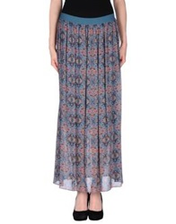 Pinko Grey Long Skirts Slate Blue