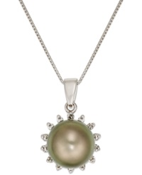 Macy's Tahitian Pearl 8Mm And Diamond 1 10 Ct. T.W. Pendant Necklace In 14K White Gold