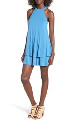 Cream And Sugar Women's Ruffle Hem Shift Dress Marine Blue