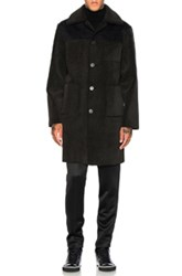Opening Ceremony Faux Suede And Shearling Back Over Coat In Black