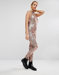 Jaded London Halloween Sequin Unitard Jumpsuit Rose Gold Copper