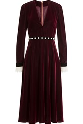 Philosophy Di Lorenzo Serafini Velvet Dress With Lace And Faux Pearls Red
