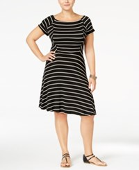 Monteau Plus Size Striped Fit And Flare Dress Black White