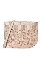 Tory Burch Zoey Saddle Bag Light Oak Gingersnap