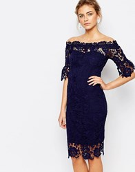 Paper Dolls Off Shoulder Crochet Dress With Frill Sleeve Navy