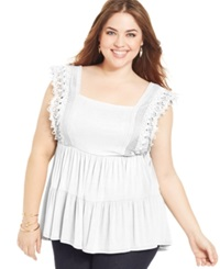 Soprano Plus Size Short Sleeve Tiered Top Ivory
