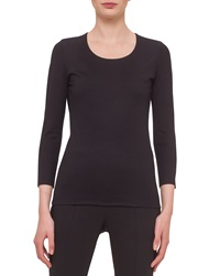 Akris Fitted 3 4 Sleeve Stretch Jersey Top Black