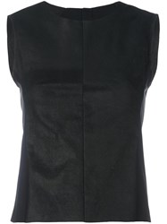 Masnada Leather Tank Top Black