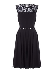 Yumi Red Lace Party Dress With Diamantes Black