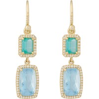 Irene Neuwirth Emerald Aquamarine And Diamond Double Drop Earrings