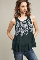 Floreat Roselle Embroidered Tank Top Blue Dark Turquoise