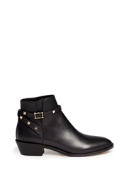 Valentino 'Rockstud' Strap Leather Ankle Boots Black