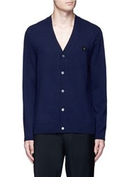 Acne Studios 'Dasher C Face' Emoji Patch Wool Cardigan Blue