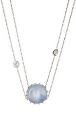 Renee Lewis Women's Cabochon Pendant Collar Blue