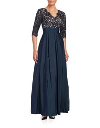 Eliza J Three Quarter Sleeve Surplice Lace Gown Navy