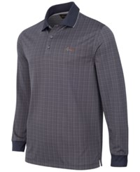 Greg Norman For Tasso Elba Men's Big And Tall Long Sleeve Dotted Grid Polo Only At Macy's Ebony