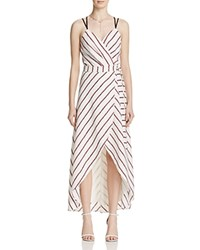 Adelyn Rae Striped Wrap Maxi Dress Red White