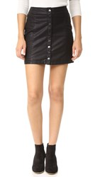 Free People Oh Snap Vegan Leather Miniskirt Black