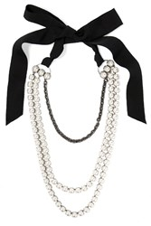 Lanvin Mariepol Burnished Silver Plated Faux Pearl Necklace White Silver
