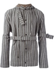 Craig Green Striped Belted Hooded Jacket Brown