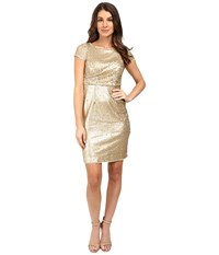 Adrianna Papell Short Sleeve Draped All Over Sequin Cocktail Dress Matte Gold Women's Dress