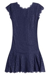 Diane Von Furstenberg Cap Sleeve Lace Dress Blue