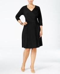 Ny Collection Plus Size Crossover A Line Dress Black