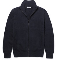 Burberry Zip Up Brushed Cashmere Cardigan Blue