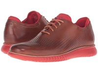 Cole Haan 2.0 Grand Laser Wing Oxford Energy British Tan Molten Lava Men's Lace Up Casual Shoes Red