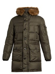 Moncler Affton Fur Trimmed Quilted Down Coat Green