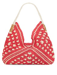 Saks Fifth Avenue Crocheted Straw Hobo Coral