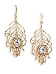 Amrita Singh Animal Kingdom Austrian Crystal Feather Drop Earrings