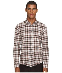 Billy Reid Kirby Shirt Rust Check Men's Long Sleeve Button Up Beige