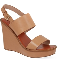 Tory Burch Lexington Leather Wedge Heel Sandals Tan