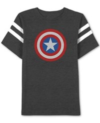 Jem Men's Captain America Graphic Print T Shirt Charcoal Heather