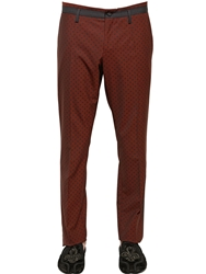 Dolce And Gabbana Polka Dot Printed Stretch Wool Pants Red Black