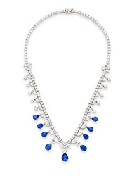 Cz By Kenneth Jay Lane Mixed Stone Halo Drop Necklace Silvertone Blue