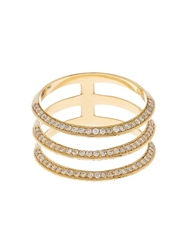 Ileana Makri Diamond And Yellow Gold Triple Band Ring