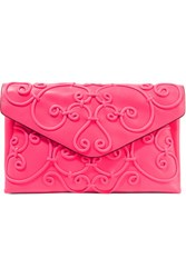 Valentino Neon Appliqued Leather Clutch Fuchsia