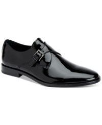 Calvin Klein Men's Norm Patent Leather Monk Strap Loafers Men's Shoes Black