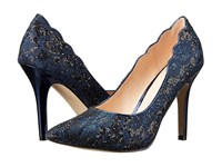 Paradox London Pink Alexis Navy Glitter Lace Women's Shoes