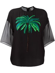 Fausto Puglisi Palm Tree Embroidered Top Black