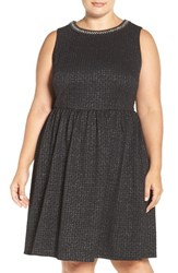 London Times Plus Size Women's Embellished Stretch Fit And Flare Dress