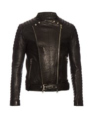 Balmain Biker Collarless Grained Leather Jacket Black
